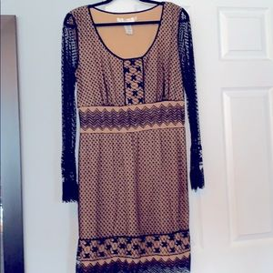 Studio M round neck lined lace long sleeve dress